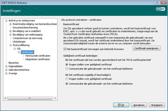 Nod32 ea config epfw ssl cert set Certificaten