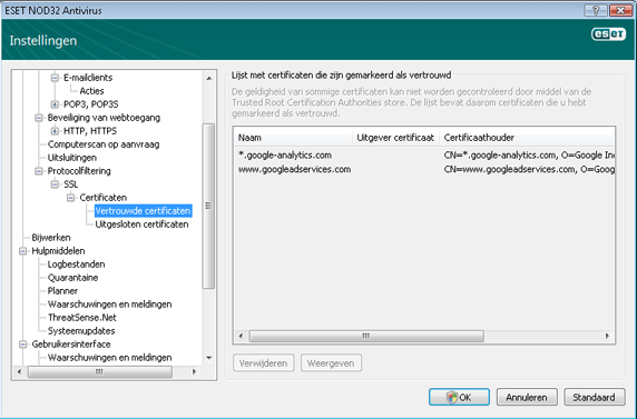Nod32 ea config epfw ssl trusted Vertrouwde certificaten