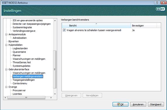 Nod32 ea config hidden message Verborgen meldingsvensters