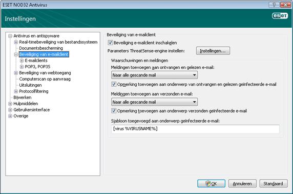 Nod32 ea config mail Beveiliging van e mailclient