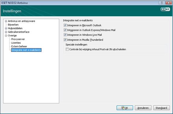 Nod32 ea config mailplugins Integratie met e mailclients