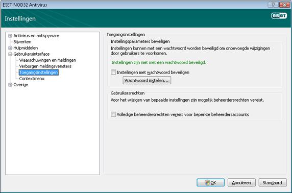 Nod32 ea config password Instellingen beveiligen