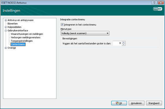 Nod32 ea config shellext Contextmenu