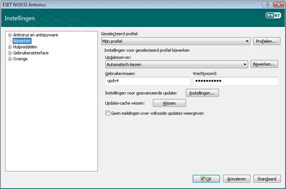 Nod32 ea config update source Instellingen voor update
