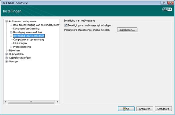 Nod32 ea config web Beveiliging van webtoegang