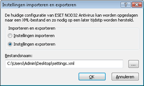 Nod32 ea importexport config Instellingen importeren en exporteren