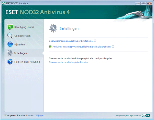 Nod32 ea page simple settings Instellingen   Standaardmodus