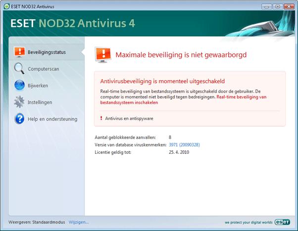 Nod32 ea page status 02 Te volgen procedure als het programma niet correct werkt