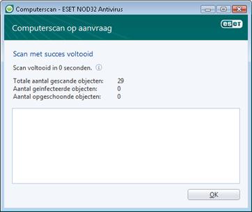 Nod32 ea scan finishwindow Scan met succes voltooid