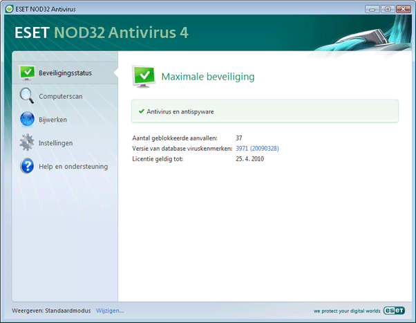Nod32 ea simple mode Standaardmodus