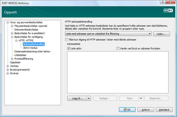 Nod32 ea config epfw scan http excludelist HTTP adressebehandling