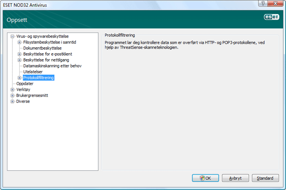 Nod32 ea config epfw scan main page Protocol filtering