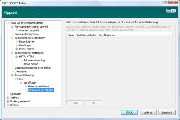 Nod32 ea config epfw ssl exclude Utelukkede sertifikater