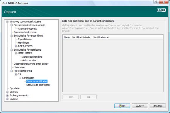 Nod32 ea config epfw ssl trusted Klarerte sertifikater