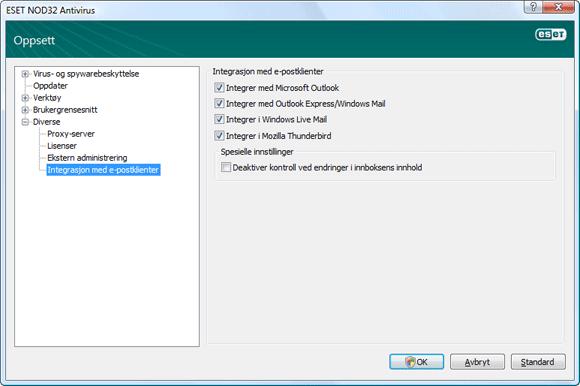 Nod32 ea config mailplugins Integrasjon med e postklienter