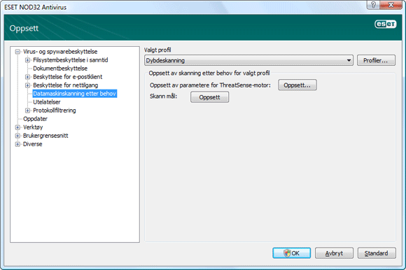 Nod32 ea config scan Datamaskinskanning etter behov