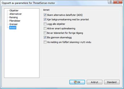 Nod32 ea config scanner scan Oppsett for skanning