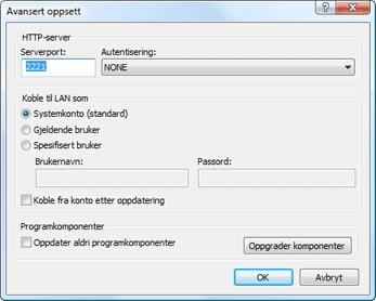 Nod32 ea config update mirror advance Avansert oppsett
