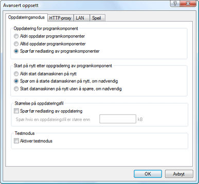 Nod32 ea config update mode Oppdateringsmodus
