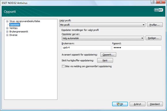 Nod32 ea config update source Oppsett for oppdatering