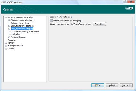Nod32 ea config web Beskyttelse for nettilgang