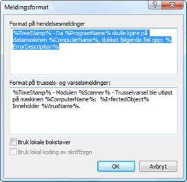 Nod32 ea format notice Meldingsformat