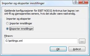 Nod32 ea importexport config Importer og eksporter innstillinger