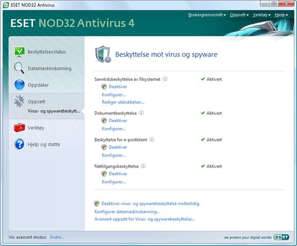 Nod32 ea page settings antivirus Oppsett av virusbeskyttelse