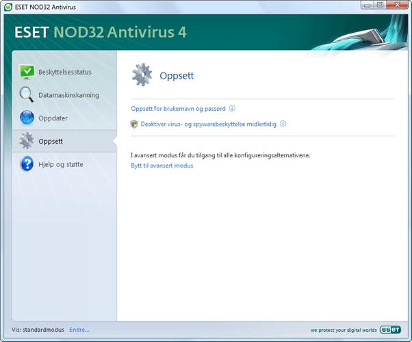 Nod32 ea page simple settings Oppsett – Standardmodus