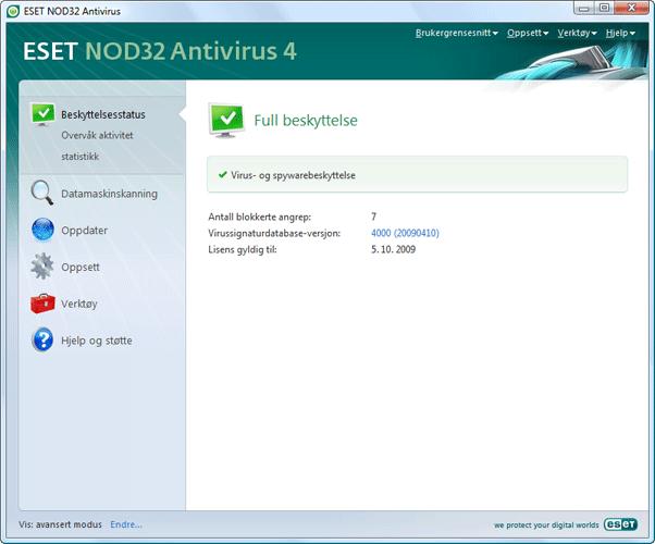 Nod32 ea page status Beskyttelsesstatus