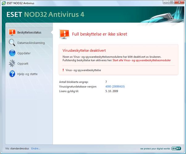 Nod32 ea page status 02 Hva må gjøres hvis programmet ikke fungerer riktig