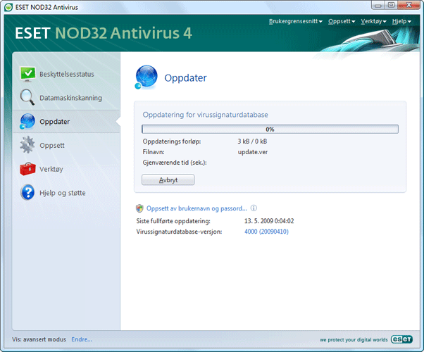 Nod32 ea page update 02 Oppdater