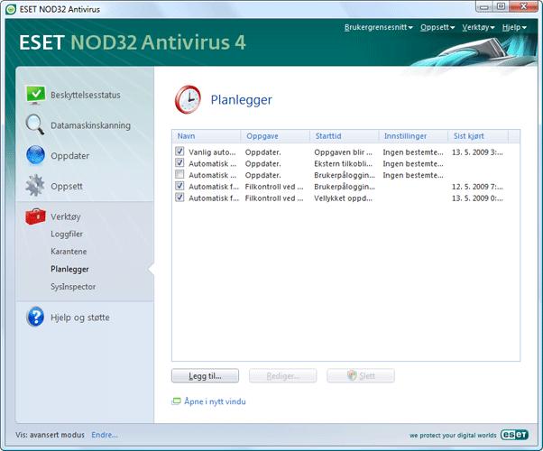 Nod32 ea scheduler info Informasjon om Planlegger