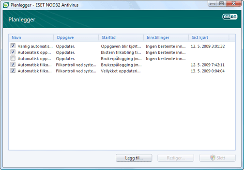 Nod32 ea scheduler window Planlegger – nytt vindu
