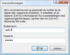 Nod32 ea settings update username Oppgi brukernavn og passord