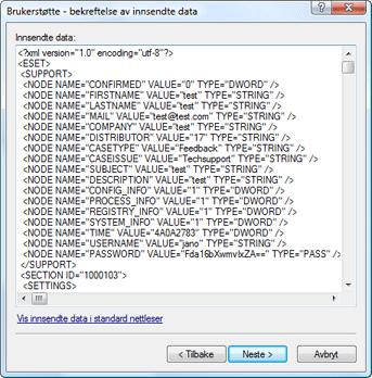 Nod32 ea support detect Bekreftelse på innsendte data