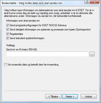 Nod32 ea support send Velge data som skal sendes inn