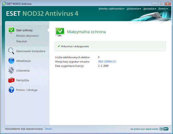 Nod32 ea advanced mode Tryb zaawansowany