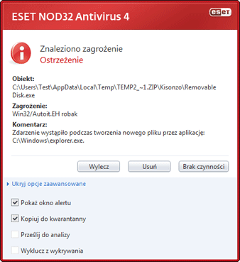 Nod32 ea antivirus behavior and user interaction 01 Wykryto zagrożenie