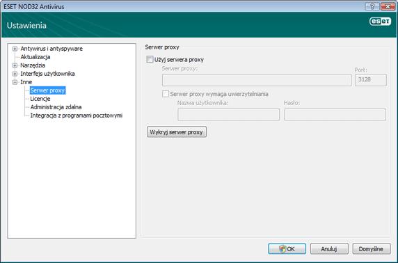 Nod32 ea config connection Serwer proxy