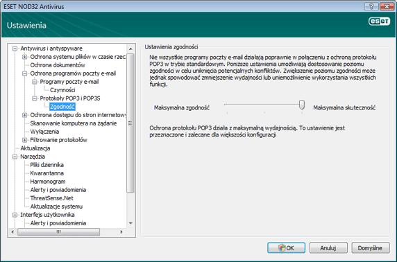 Nod32 ea config epfw scan pop3 comp Zgodność