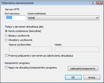 Nod32 ea config update mirror advance Ustawienia zaawansowane