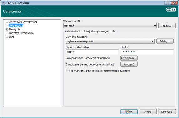 Nod32 ea config update source Ustawienia aktualizacji