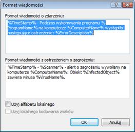 Nod32 ea format notice Format wiadomości