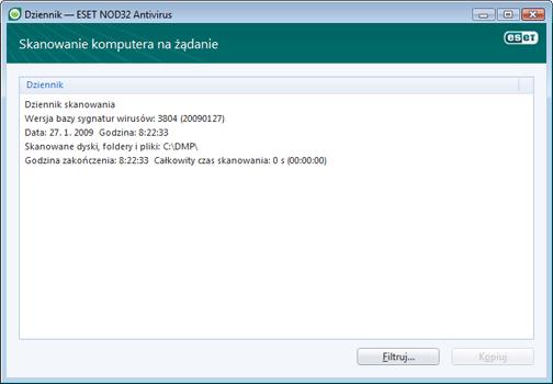 Nod32 ea log window Pliki dziennika — nowe okno