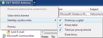Nod32 ea oe toolbar Pasek narzędzi do programów Outlook Express i Windows Mail