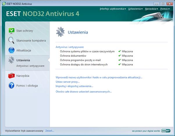 Nod32 ea page advanced settings Interfejs użytkownika — wprowadzenie