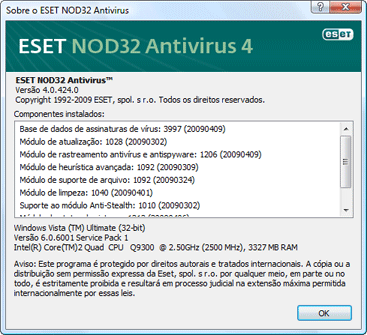 Nod32 ea about Sobre o Antivírus ESET NOD32
