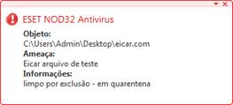 Nod32 ea antivirus behavior and user interaction Comportamento de proteção antivírus e interação com o usuário