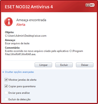 Nod32 ea antivirus behavior and user interaction 01 Uma infiltração foi detectada